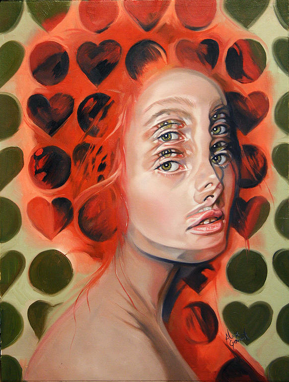 Queen of Double Eyes, Alex Garant, art, optical illusion, surreal